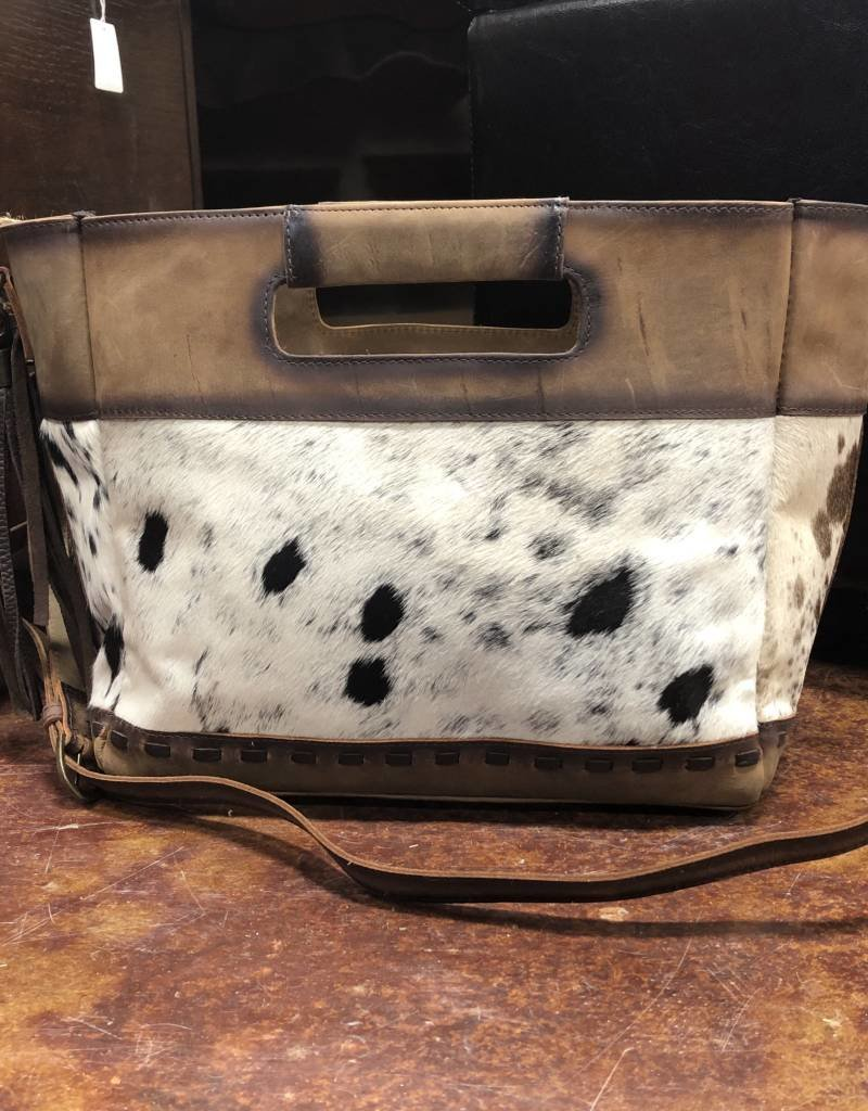 PURSE STS COWHIDE FLAT ROCK TOTE CONCEALED CARRY DETACHABLE STRAP