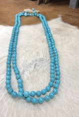 "NECKLACE STONE BEAD TURQ 60"" 8MM ENDLESS"