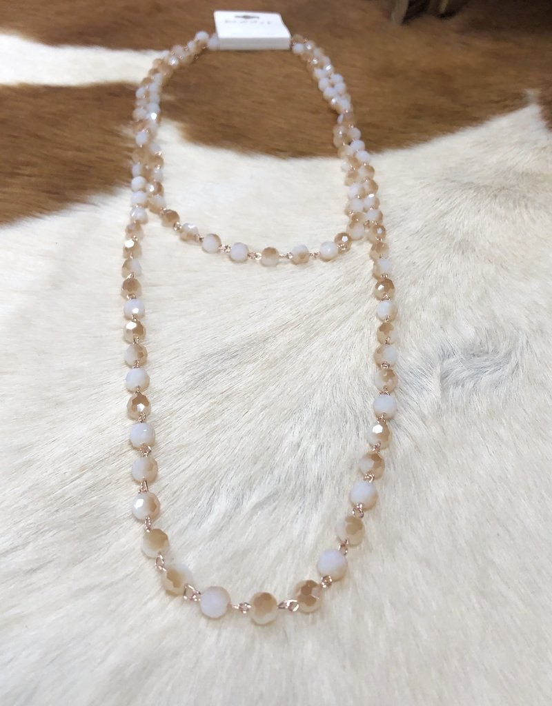 """NECKLACE BEAD CRYSTAL WHITE TAN 60"""" ENDLESS"""