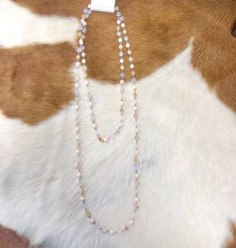 "NECKLACE BEAD CRYSTAL AB WHITE TAN 60"" ENDLESS"