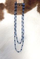 "NECKLACE BEAD CRYSTAL NAVY 60"" ENDLESS"