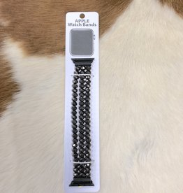 APPLE WATCH BAND CRYSTAL BLACK STRETCH BAND