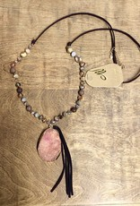 NECKLACE DRUZY TEARDROP SUEDE STONE CRYSTAL BEADS