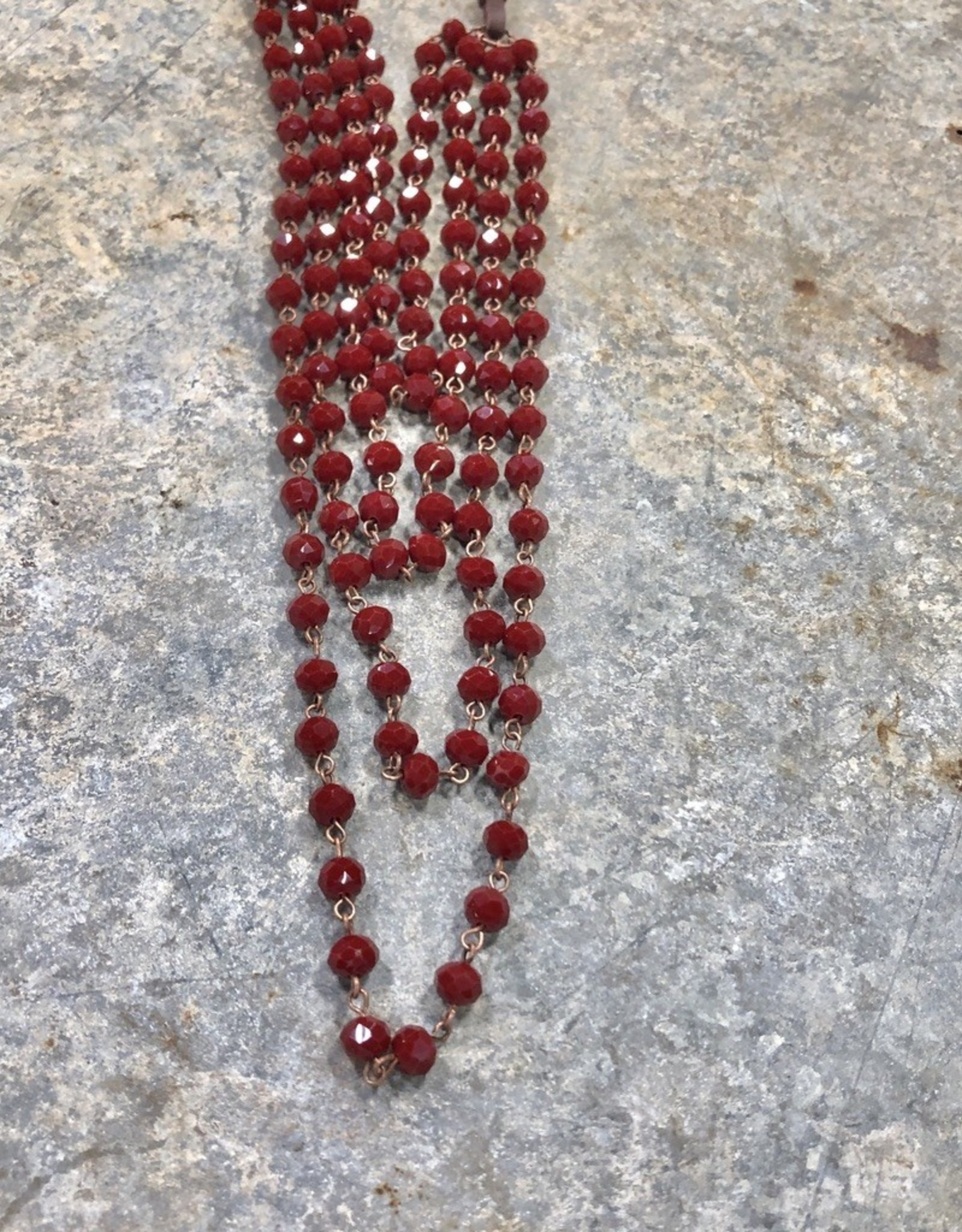 NECKLACE BEAD CRYSTAL LAYER LEATHER STRAND RED 32""