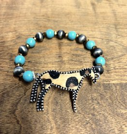 BRACELET STRETCH HORSE LEOPARD NATURAL STONE TURQ CRYSTAL