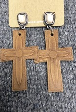 EARRING NATURAL STONE BONE LEATHER CROSS