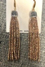 EARRING GLASS SEED BEAD TASSEL COPPER 4""