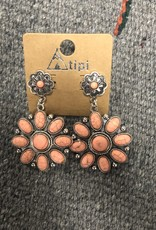 EARRING STONE CORAL FLOWER POST