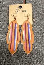 EARRING FEATHER SERAPE VEGAN LEATHER