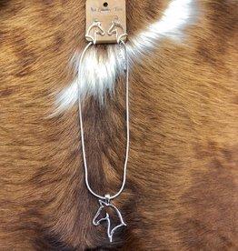 NECKLACE HORSE HEAD PENDANT W EARRINGS