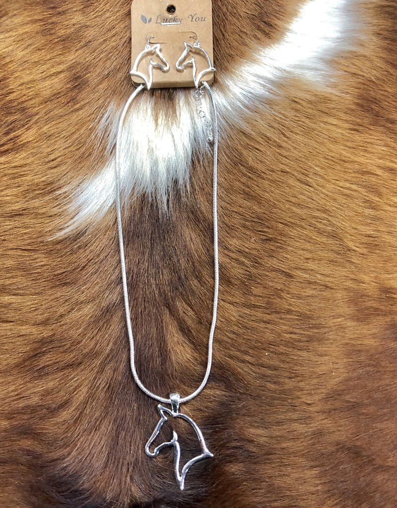NECKLACE HORSE HEAD PENDANT W EARRINGS