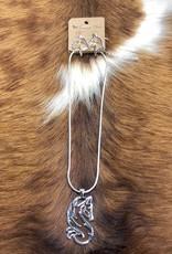 NECKLACE HORSE HEAD PENDANT SWIRL W EARRINGS
