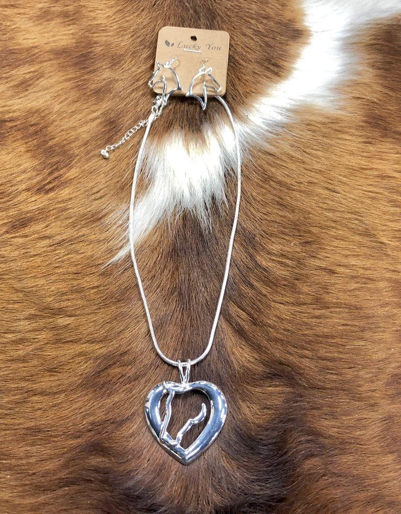 NECKACE HORSE HEAD HEART W EARRINGS