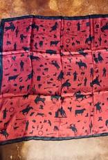 SCARF DARK RED COWBOY SILHOUETTE SILK WILDRAG