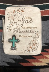 "BIBLE COVER CASE CREAM ""WITH GOD ALL THINGS ARE POSSIBLE"" HANDLE SHOULDER STRAP 11' X 3' X8"""