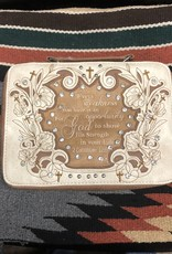 "BIBLE COVER CASE CREAM TAN ""EVERY WEAKNESS IS .."" HANDLE SHOULDER STRAP 11"" X 3"" X 8"""