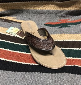 ROPER WMS ROPER SANDAL BROWN TOOLED THONG
