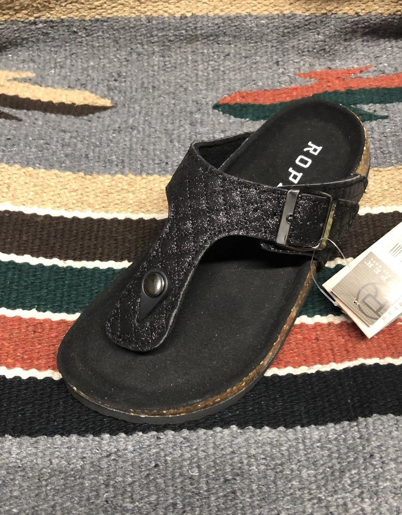 ROPER WMS SANDAL BLACK METALIC FAUX QUILTED