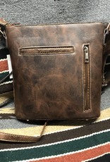 PURSE CROSSBODY VEGAN LEATHER BROWN TOOLED SQ TURQ CONCEALED CARRY