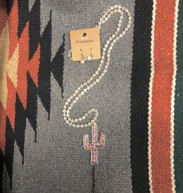NECKLACE CACTUS SAGUARO SERAPE CREAM CRYSTAL NECKLACE SET WITH EARRINGS