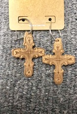 EARRING LEATHER CROSS STAMPED