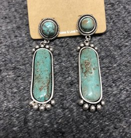 """EARRING NATURAL STONE OVAL RECTANGLE DOT POST 2 1/2"""""""