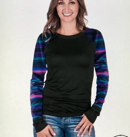 COWGIRL TUFF WMN COWGIRL TUFF TEE L/S RAGLAN SERAPE NEVER GIVE UP