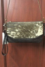 "CLUTCH COWHIDE PURSE WRISTLET LEATHER REMOVEABLE STRAPS 5"" X 9"""