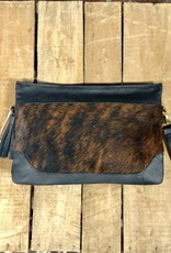 "CLUTCH PURSE BOHO COWHIDE X LARGE 13"" X 9 "" REMOVABLE WRISTLET"