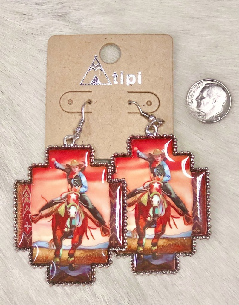 EARRING COWGIRL VINTAGE HORSE AND RIDER