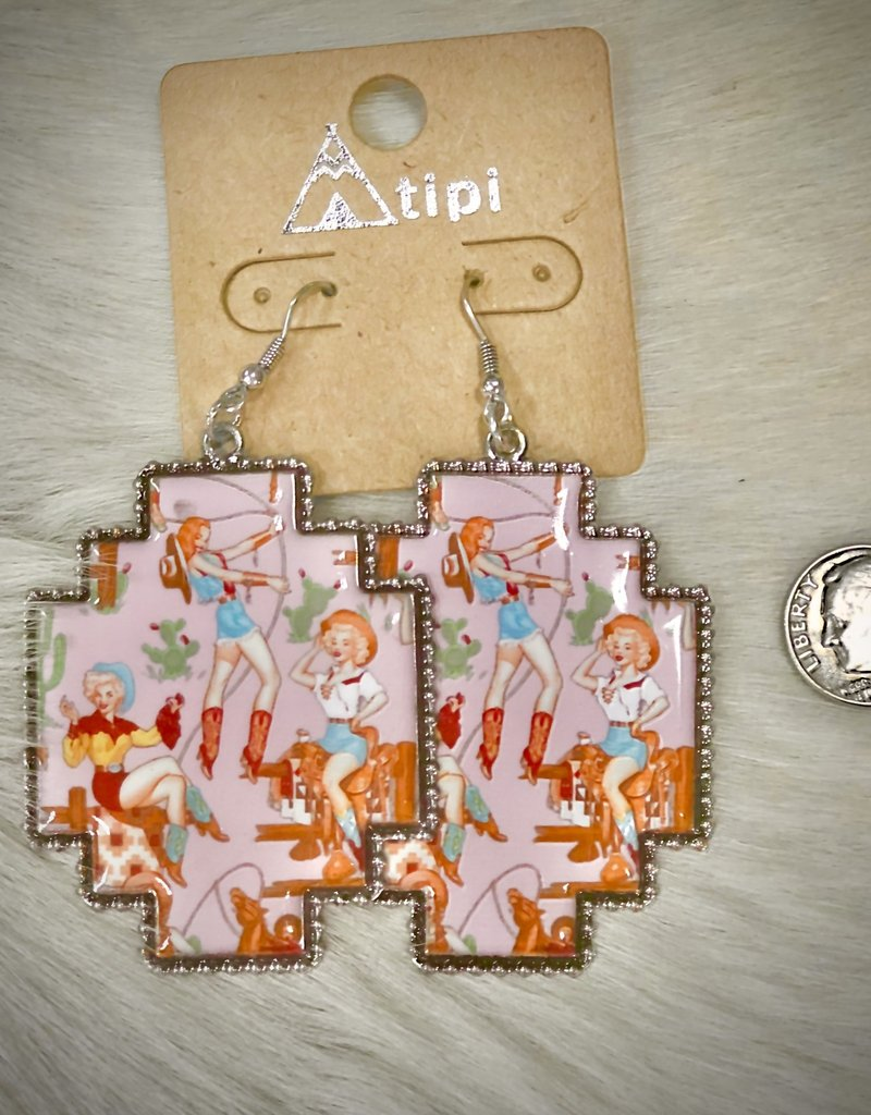 EARRING COWGIRL VINTAGE PINK PINUP