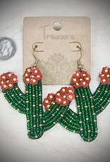 EARRING CACTUS SEED BEAD GREEN W RED FLOWER