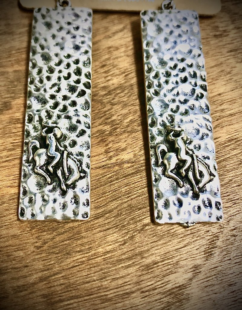 EARRING HAMMERED SILVER LONG BRONC