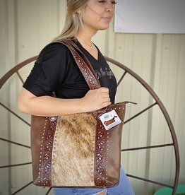 PURSE LYNLEE HIDE TOOLED TOTE SILVER INLAY CC CONCEAL CARRY
