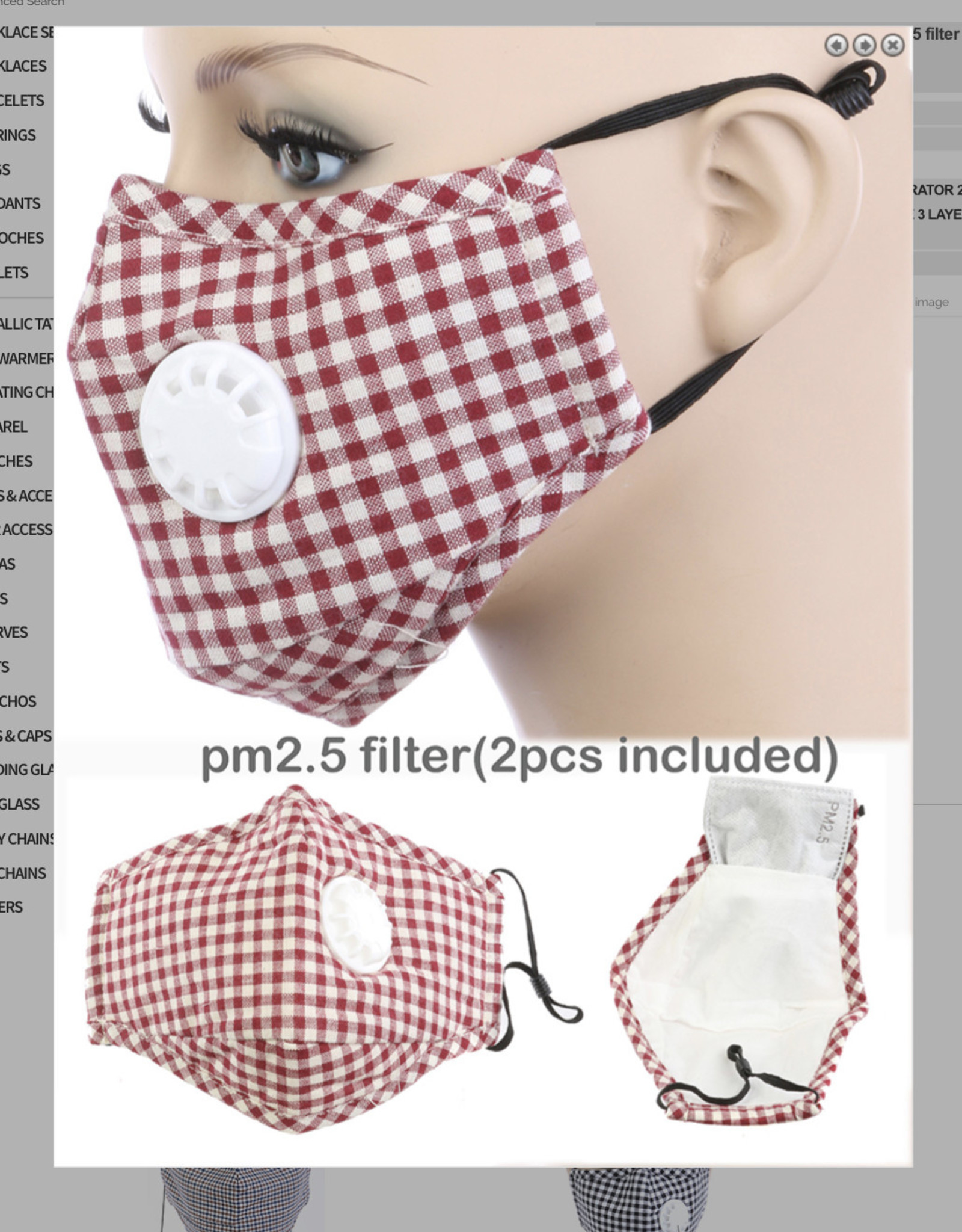 FACE MASK COTTON EZ BREATHE RESPIRATOR W/ FILTER POCKET RED CHECK