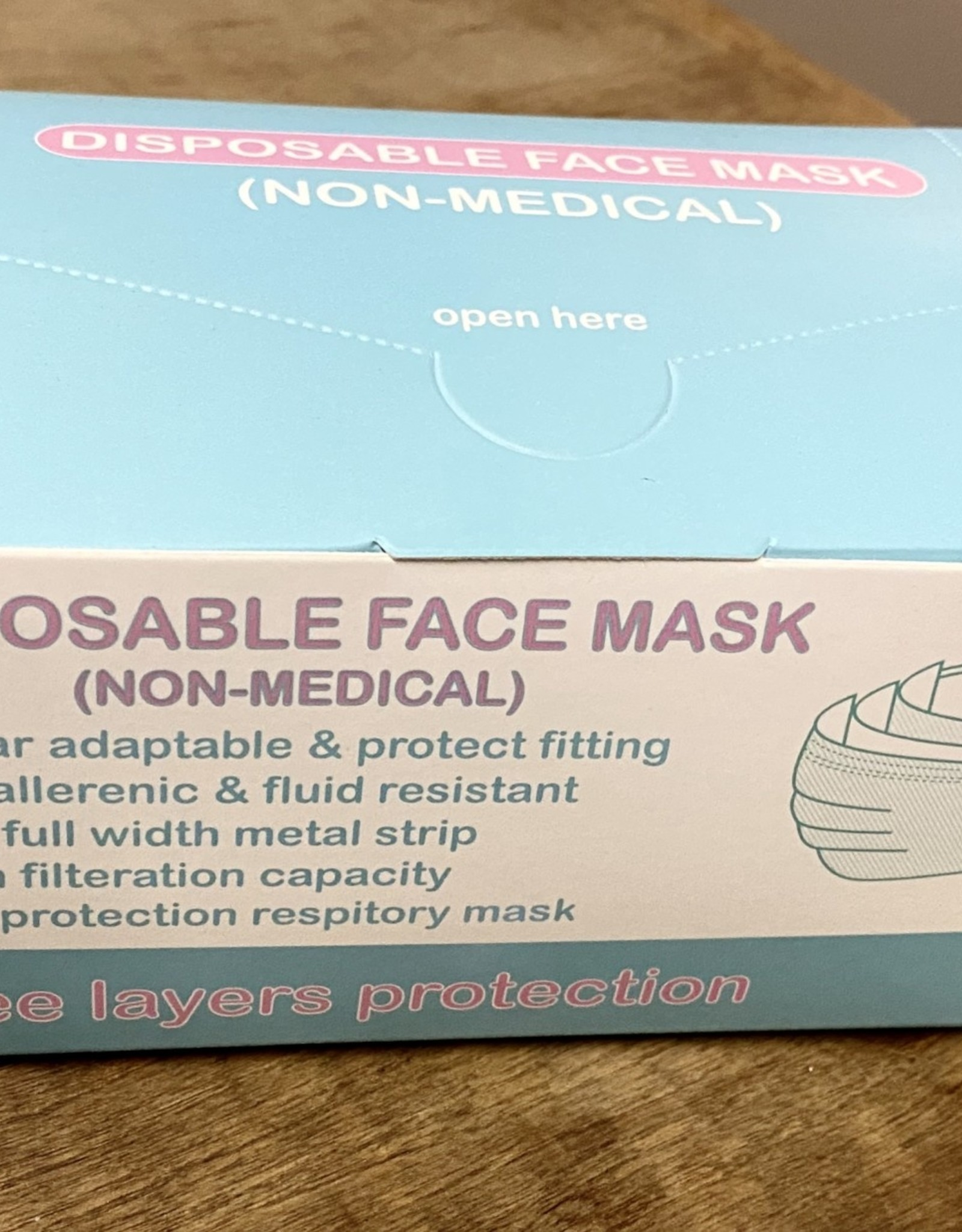FACE MASK 50 PACK DISPOSABLE BLUE