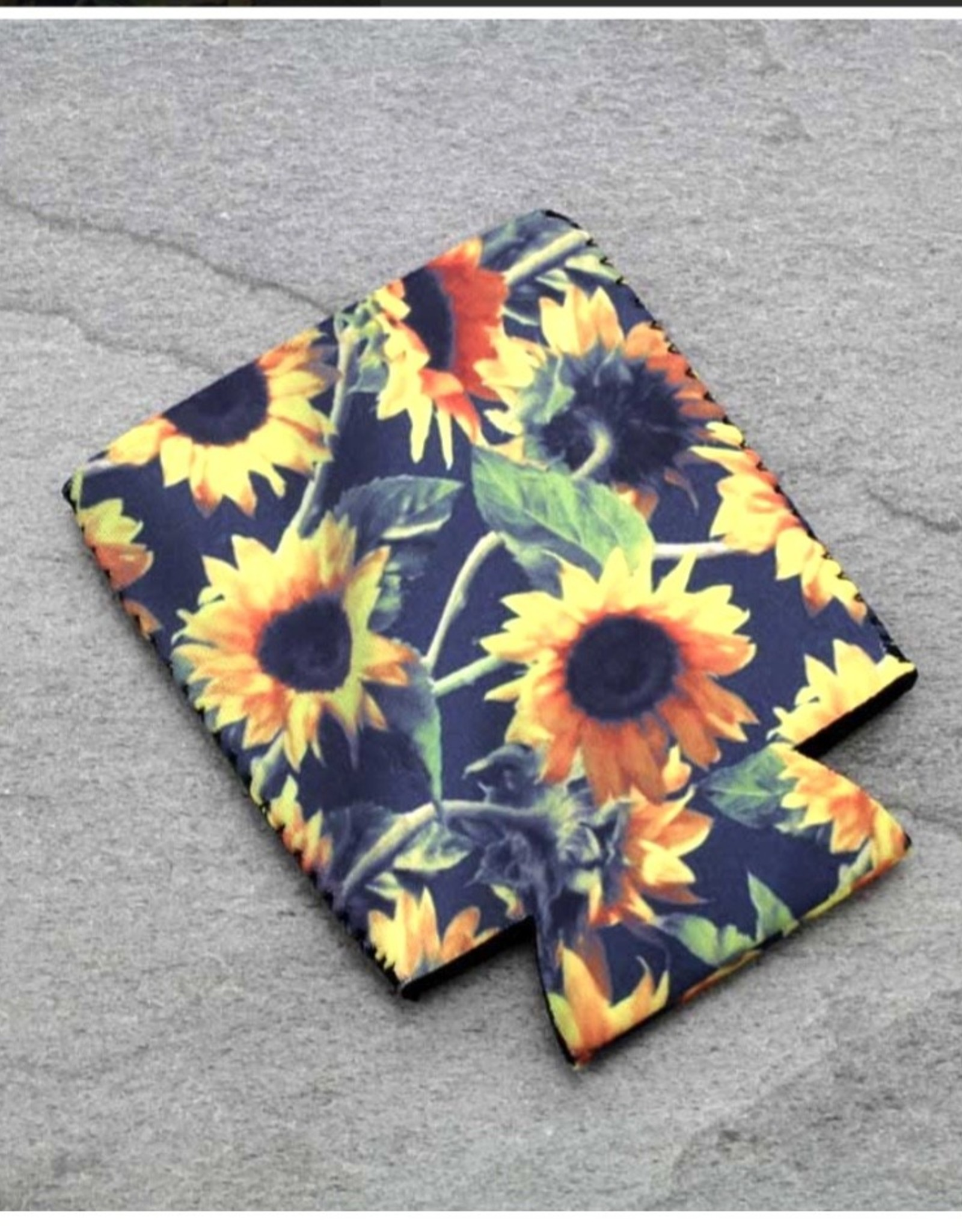 KOOZIE SUNFLOWERS BLACK GOLD DRINK SLEEVE