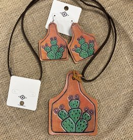 NECKLACE EARTAG LEATHER CACTUS SET