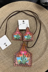 NECKLACE EARTAG LEATHER CACTUS SUNSET SET
