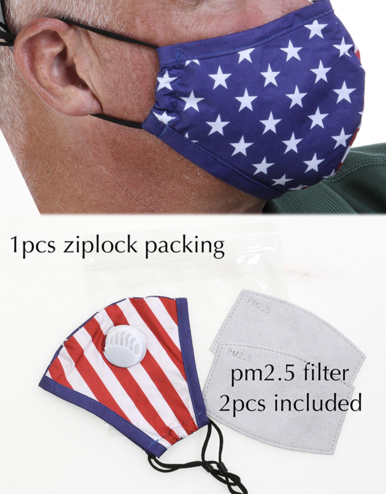 FACE MASK COTTON EZ BREATHE RESPIRATOR W/ 2 FILTERS FLAG
