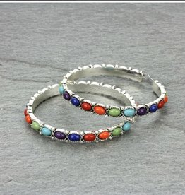 EARRING HOOP NAVAJO STONE MULTI COLOR