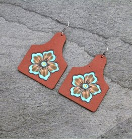 EARRING EARTAG LEATHER FLOWER TURQ
