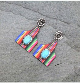 EARRING EAR TAG WOOD SERAPE TURQ STONE POST EARTAG