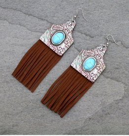 EARRING EAR TAG WOOD PATINA TOOLED TURQ STONE POST FRINGE EARTAG