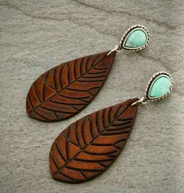 EARRING LEATHER LEAF NATURAL STONE POST