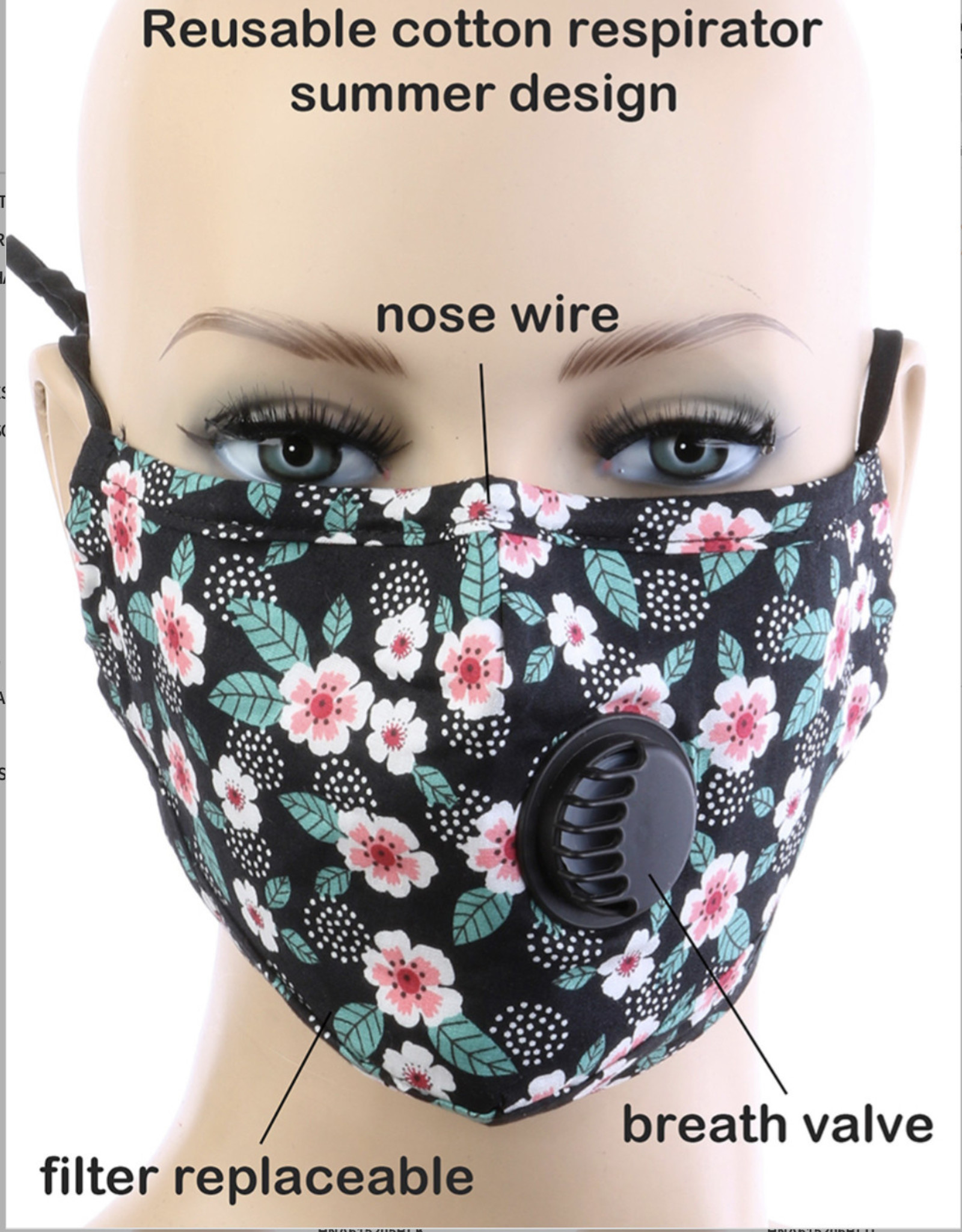 FACE MASK COTTON EZ BREATHE RESPIRATOR W/ FILTER POCKET BLACK PANSIE