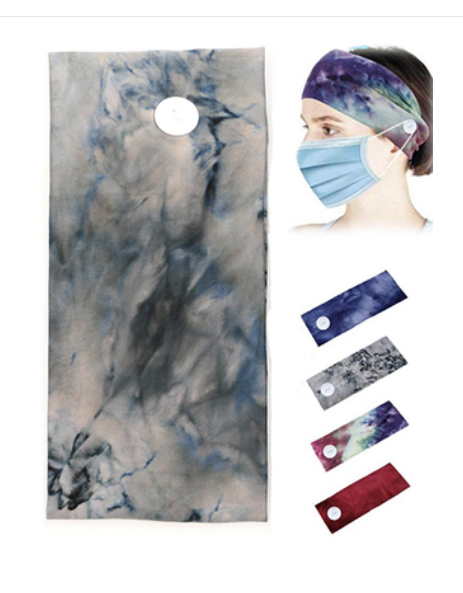 HEADBAND WITH BUTTON FOR MASK WIDE TIE DYE