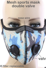 FACE MASK OUTDOOR SPORTS 2 RESPIRATOR VALVE W KN95 FILTER CAMO BLUE