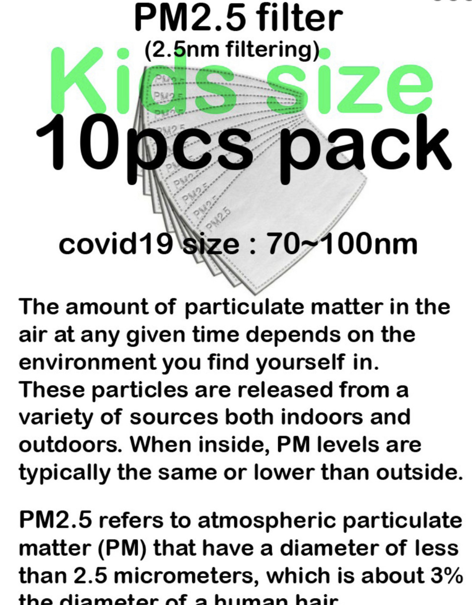 FACE MASK FILTER KN95 5 LAYER PROTECTION 10 PACK FITS INSIDE ANY CHILD MASK W/ POCKET