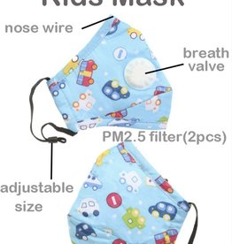 FACE MASK COTTON EZ BREATHE RESPIRATOR W/  FILTER POCKET CARS CHILD 2-8YR